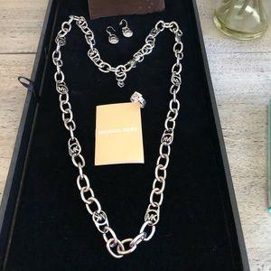 Michael Kors Authentic Logo Silver Chain Necklace